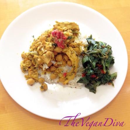 Vegan Curry Chicken w/ Sundried Tomato Collard Greens
